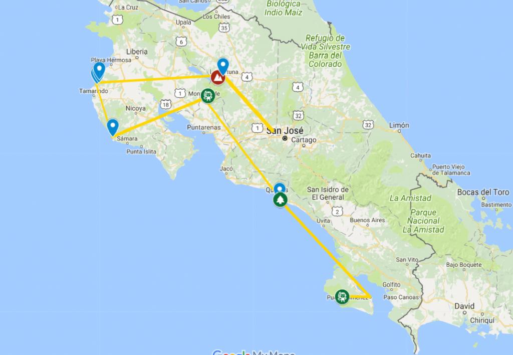 Mapa de Costa Rica con los sitios visitados