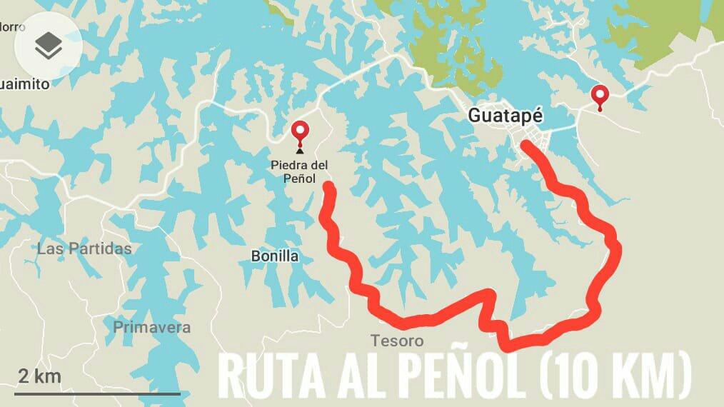 Mapa de la ruta de 10 km al Peñol de Guatapé